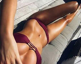 CUTE WINE RED HOLLOW TWO PIECE BIKINI