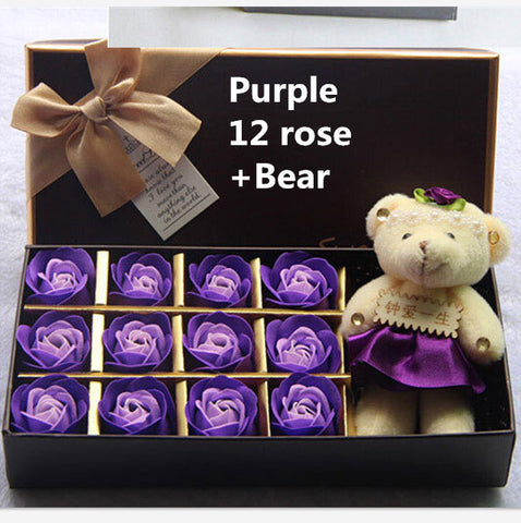 Christmas presents 12 roses soap flower chocolate cartoon toy box Valentine's day gift Soap flower Bear purple