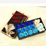 Christmas presents 12 roses soap flower chocolate cartoon toy box Valentine's day gift Soap flower Blue 12 piece rose bear
