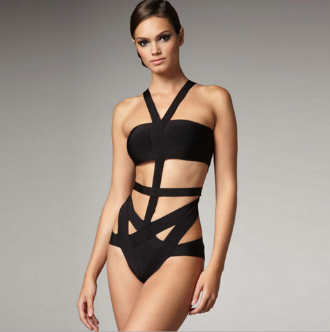 With Breast Pad Without Steel Supporting New Sexy Black Hollow Out Summer Conjoined Swimsuit Bikini Europe