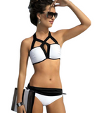 Black and white stitching sexy hanging neck hollow halter beach swimsuit