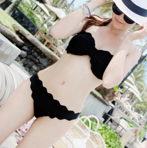 Black sexy strapless bikini scalloped two piece bikini