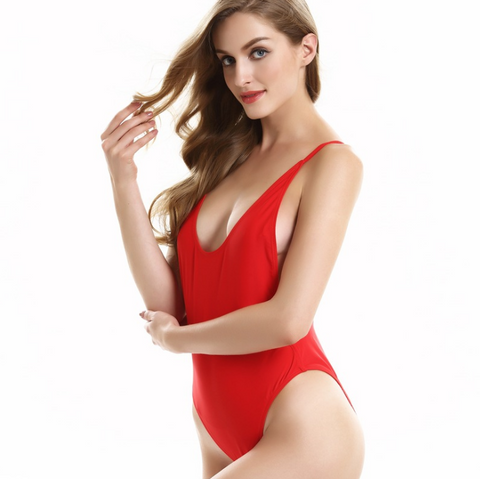 (8 color)Fashion pure color red low chest show thin one piece vest type bikini  backless