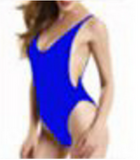 (8 color)Fashion blue print low chest show thin one piece vest type bikini  backless