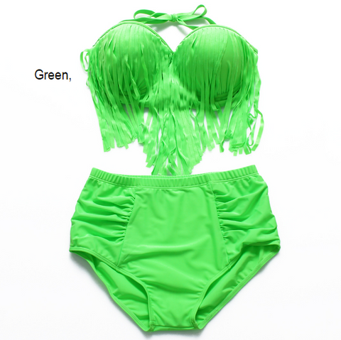 (12 color)Plus sexy women pure color green gather type chest tassel strapless back knot high waist two piece bikini swimsuit