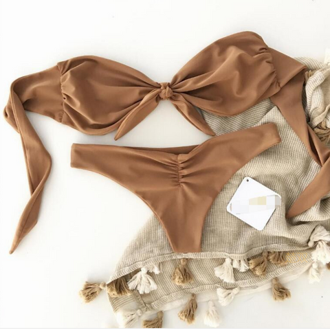 Best selling fashion bowknot type knot dtrapless two piece bikini khaki