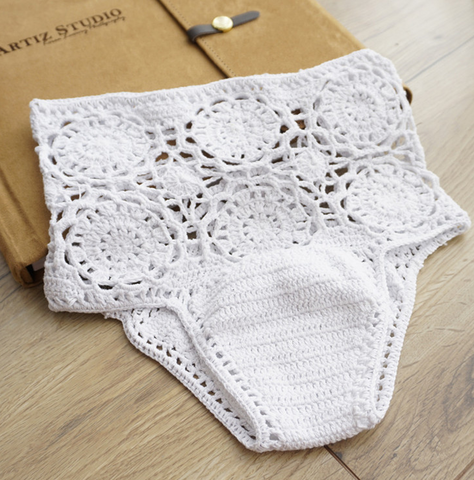Knit weave white hollow women's high waist bikini swimming pants bottom