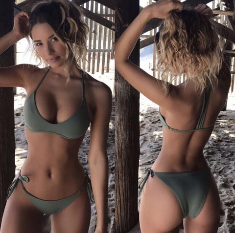 Army green sexy low chest bottom side knot two piece bikini pure color