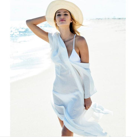 Chiffon V neck irregular beach dress sexy loose bikini smock blouse white