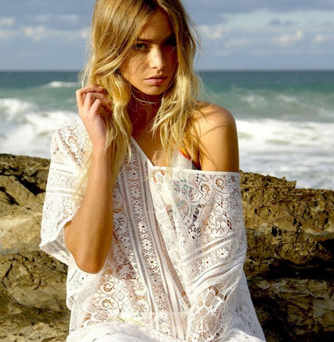 Sexy beach lace dress loose smock sunscreen shirt white
