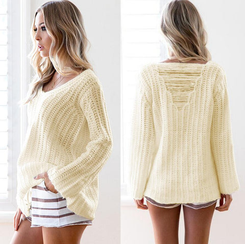 Fashion white sweater back hollow long sleeve top