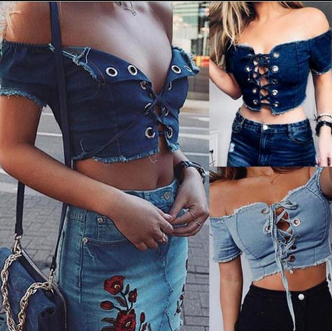 Fashion Off Shoulder Short Sleeve Women Denim Small Top T-shirts