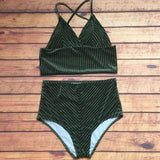 Sexy V Collar Pleuche Pure Color High Waist Two Piece Bikini Swimsuit Bathing(4-Color) Coffee