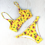 Sexy Women Yellow Nude Floral Print Back Bandage Knot Two Piece Bikini Swimwear Bathing