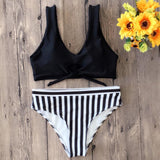 Fashion Women Chest Holes Bowknot Stripe Two Piece Bikini Swimsuit Bathing Black