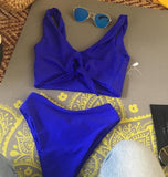 Sexy Women Vest Style Pure Color Chest Knot High Waist Two Piece Bikini Swimsuit Blue