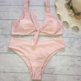 Fashionable breast knot swimsuit high waist pure color band two pieces of bikini