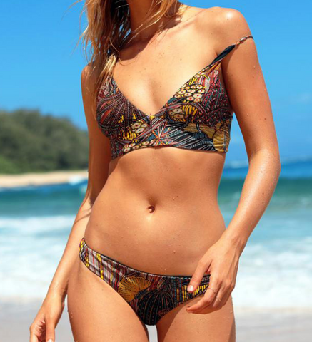 Fashion print two piece bikinis swimwear bathsuit