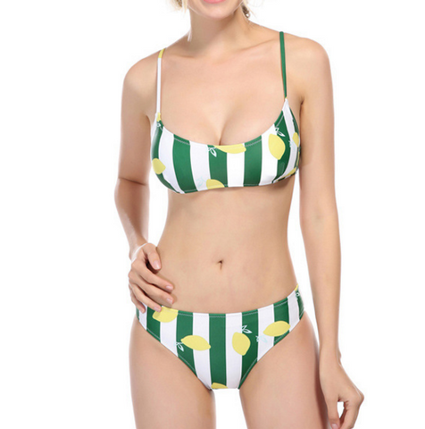 Green stripe two piece bikinis siwmwear bathsuit swimsuit