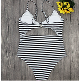 Print and stitching in front of the chest swimwear bathsuit bikinis