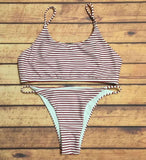 Sexy Women Simple Red White Stripe Backless Two Piece Bikini Swimwear Swimsuit I12058-1