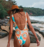 Fashion Women U Collar Orange Sunflower Digital Print Backless Vest Style One Piece Bikini Swimwear Swimsuit I12108-1