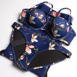 Sexy Summer Beach Dark Blue Bikini Retro Flower Print Two Piece Bikini Swimsuit Bathing I12111-1