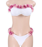 Cute flower two piece strapless bikinis
