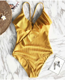 Pure color sex of lotus leaf one piece swimwear bathsuit