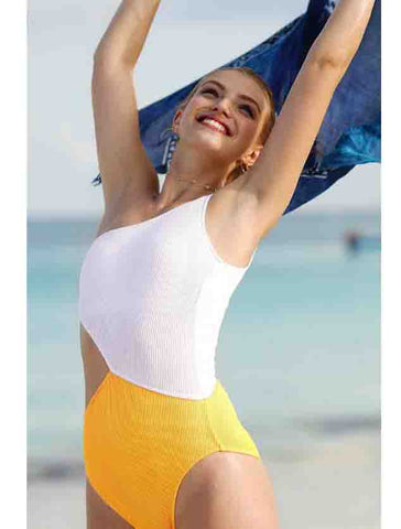 Sexy Summer Beach Women Fashion White Yellow Color Matching Stitching Single Shoulder Waist Hollow One Piece Bikini Swimsuit I12780-1