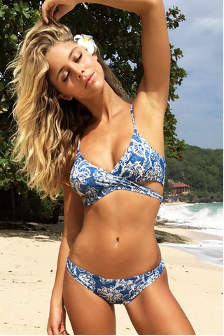 New blue printed bikini swimming suit cross flower bikini
