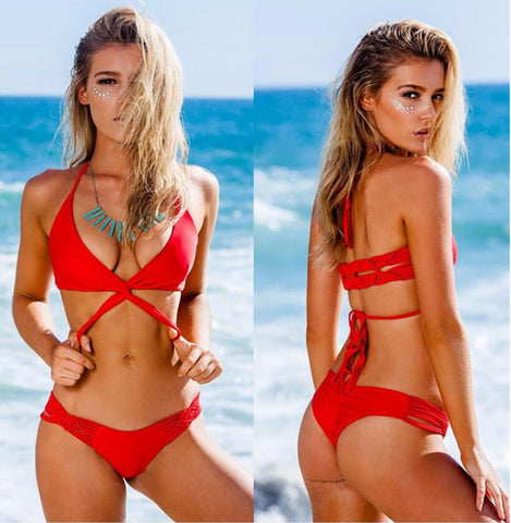 Sexy Women Fashion Pure Red Halter Cross Braided Rope Backless Two Piece Bikini Swimsuit Bathing I13311-1