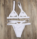 Sexy Beach Women Fashion Pure White Joining Together Mesh Backless Two Piece Bikini Swimsuit Bathing I13323-1