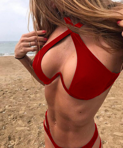 Summer new fashion straps cross sexy hollow two piece bikini swimsuit Red