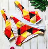 Summer new fashion plaid print sexy vest two piece bikini swimsuit