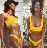 Summer new fashion solid color vest two piece bikini swimsuit Yellow
