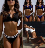 Summer New fashion solid color sexy v-neck two piece bikini swimsuit Dark blue