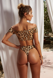New fashion summer leopard print bow-knot sexy strapless two piece bikini swimsuit