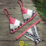 New fashion summer stripe print sexy straps two piece bikini swimsuit