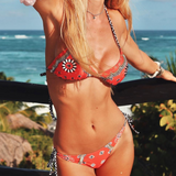 Summer New fashion floral graffiti sexy straps two piece bikini swimsuit Red