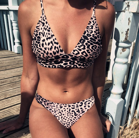 Summer New fashion leopard print multi-rope sexy two piece swimsuit