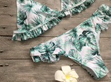 Summer New fashion leaf sexy straps two piece bikini swimsuit Green