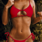 Summer new fashion solid color hollow straps sexy two piece bikini Red