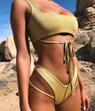 Summer new fashion bandage solid color sexy vest two piece bikini swimsuit Yellow