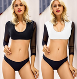Summer new fashion solid color long sleeve mesh splice sexy two piece bikini White