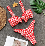 Summer new fashion plaid bow-knot sexy straps two piece bikini Red