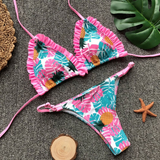 Summer new fashion pineapple leaf print sexy straps two piece bikini swimsuit