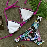 Summer new fashion floral print sexy straps two piece bikini swimsuit