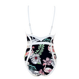 Summer new fashion leaf floral swan print straps one piece bikini swimsuit