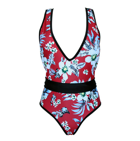Summer New fashion floral leaf print v-neck straps one piece bikini swimsuit Red